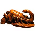 Wood Netsuke Insect Scorpion on Leaf