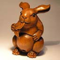 Wood Netsuke Rabbit